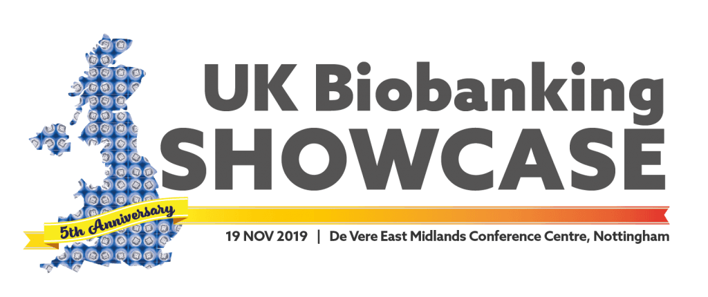 Logo for 2019 UK Biobanking Showcase with 5th anniversary banner