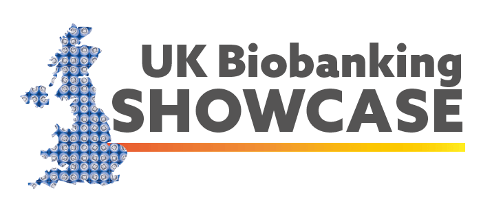 Map of the UK made up of the top view of cryovials with the words UK Biobanking Showcase next to it.