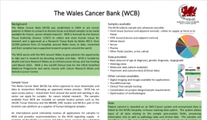 Thumbnail image of the Wales Cancer Bank's Poster for entry to the UK Biobank of the Year Award