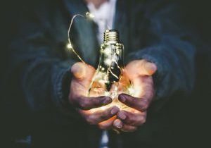 Symbolising holding ideas in the palm of your hand